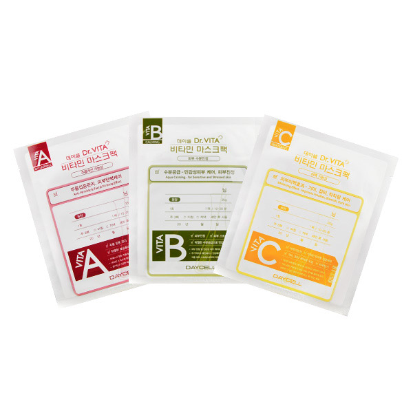 [DAYCELL] Dr.VITA Vitamin Mask Pack 25g. 100% Cotton Tencel Facial Mask Sheet.