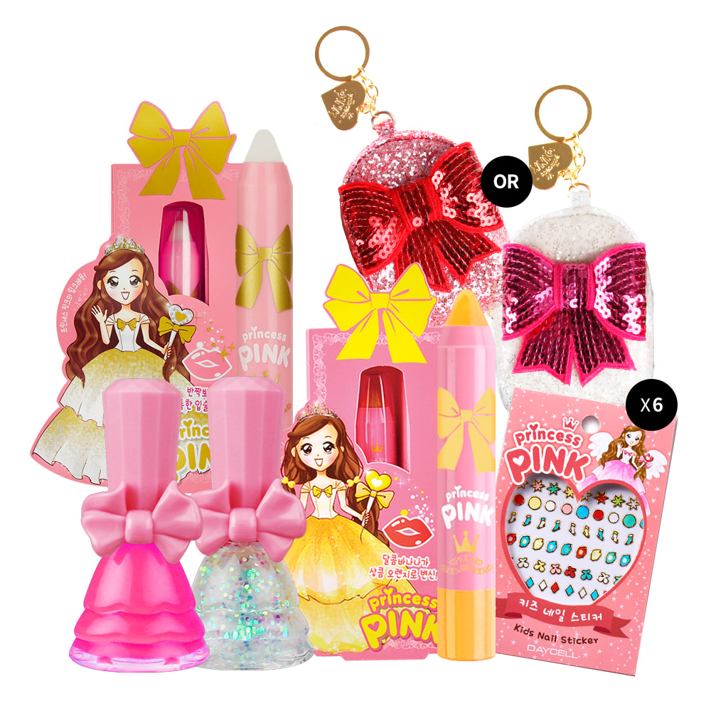 [DAYCELL] princess PINK 11PCS Makeup Kit for Girls - Lip Crayon + Nail Polish + Nail Sticker + Mini Bag